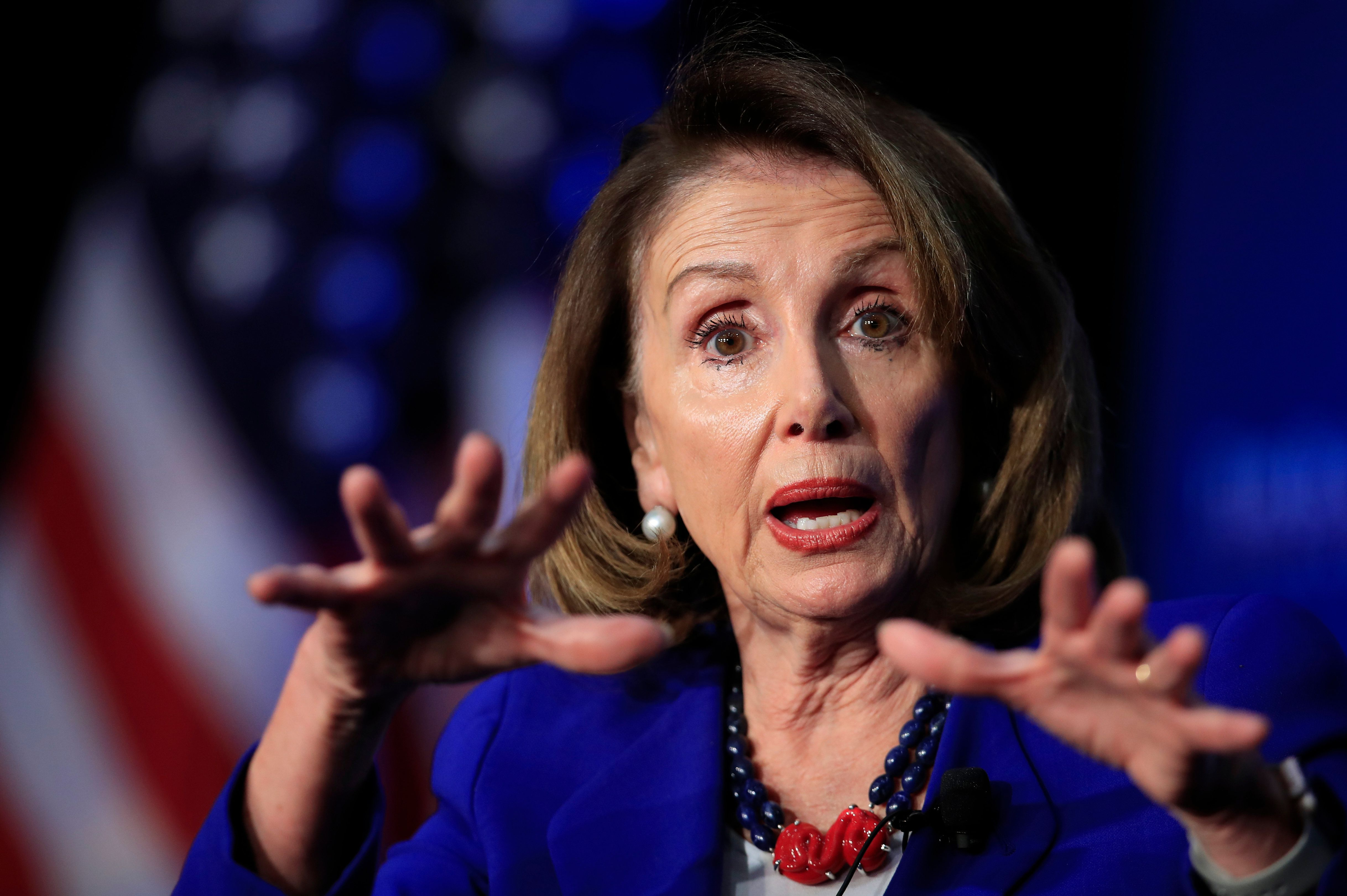 "In this March 8, 2019, photo, House Speaker Nancy Pelosi of Calif., speaks at the Economic Club of Washington in Washington. Pelosi is setting a high bar for impeachment of President Donald Trump, saying he is ""just not worth it"" even as some on her left flank clamor to start proceedings (AP Photo/Manuel Balce Ceneta)"