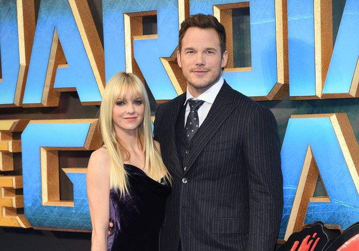 "Anna Faris and Chris Pratt attend a screening of ""Guardians of the Galaxy Vol. 2"" in 2017 in London."