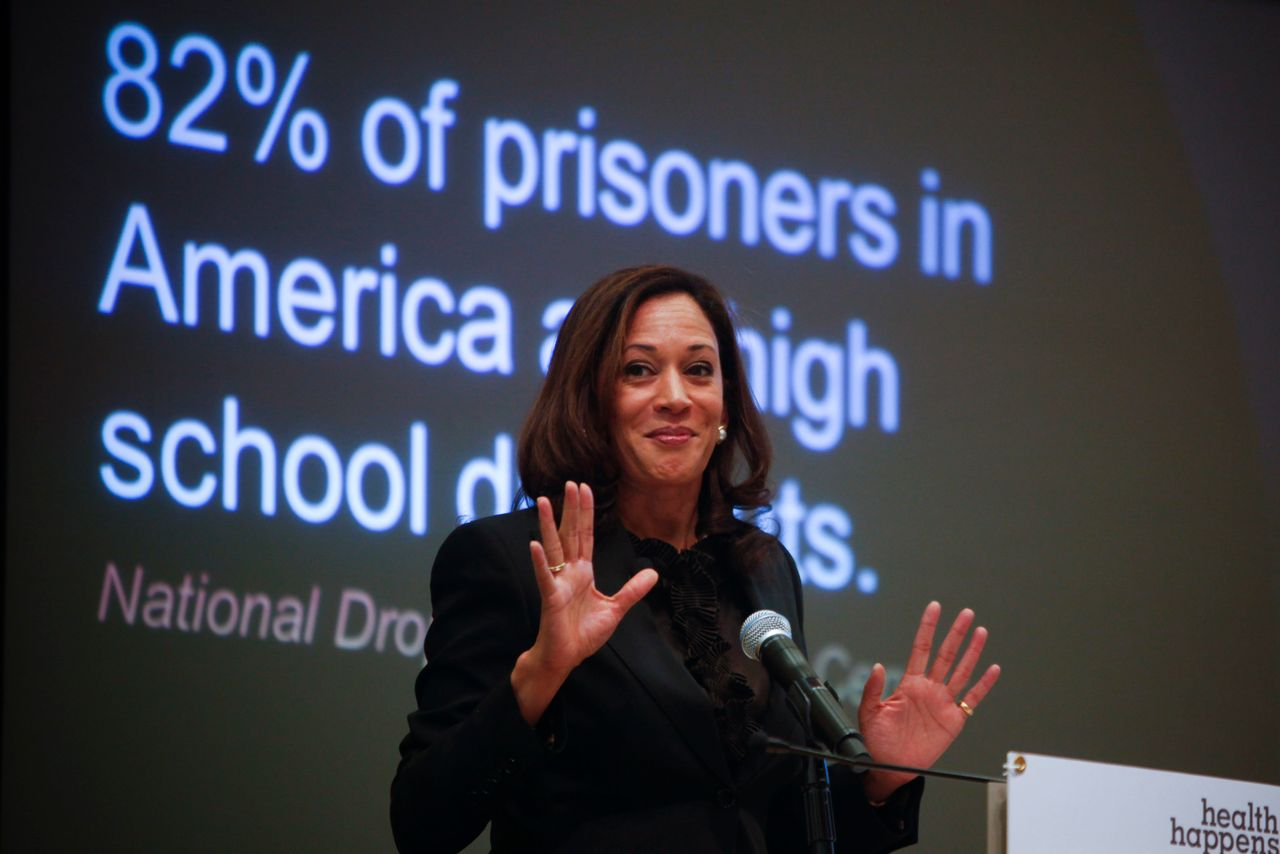 Then-California Attorney General Kamala Harris discusses the first statewide statistics on the elementary school truancy crisis during a symposium featuring officials in law enforcement, education and public policy on Sept. 30, 2013, in Los Angeles.