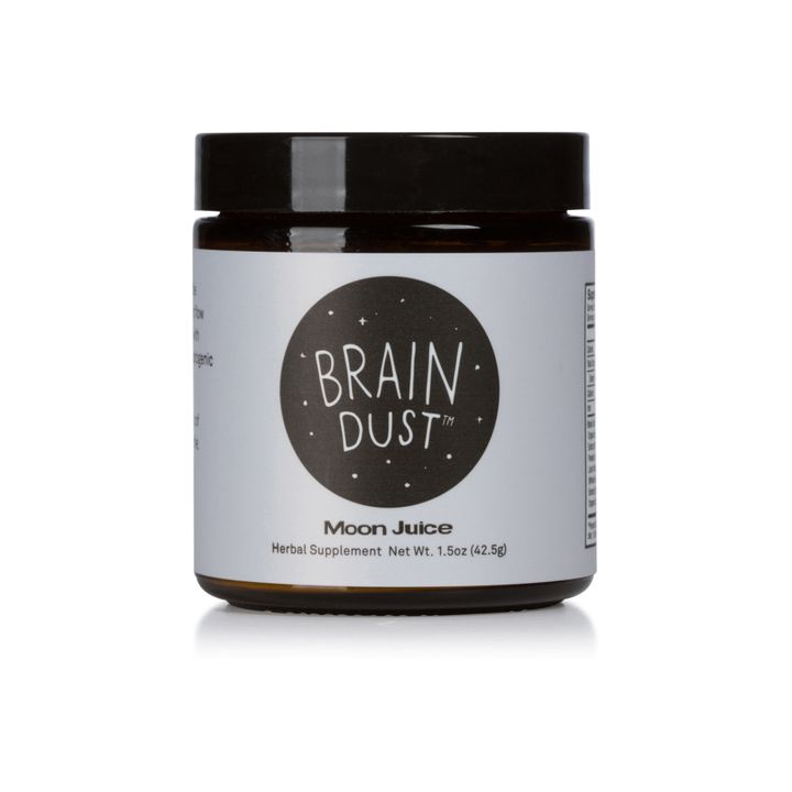 "According to the Moon Juice website, Brain Dust claims to ""help combat the effects of stress to align you with the cosmic flow for great achievement."""