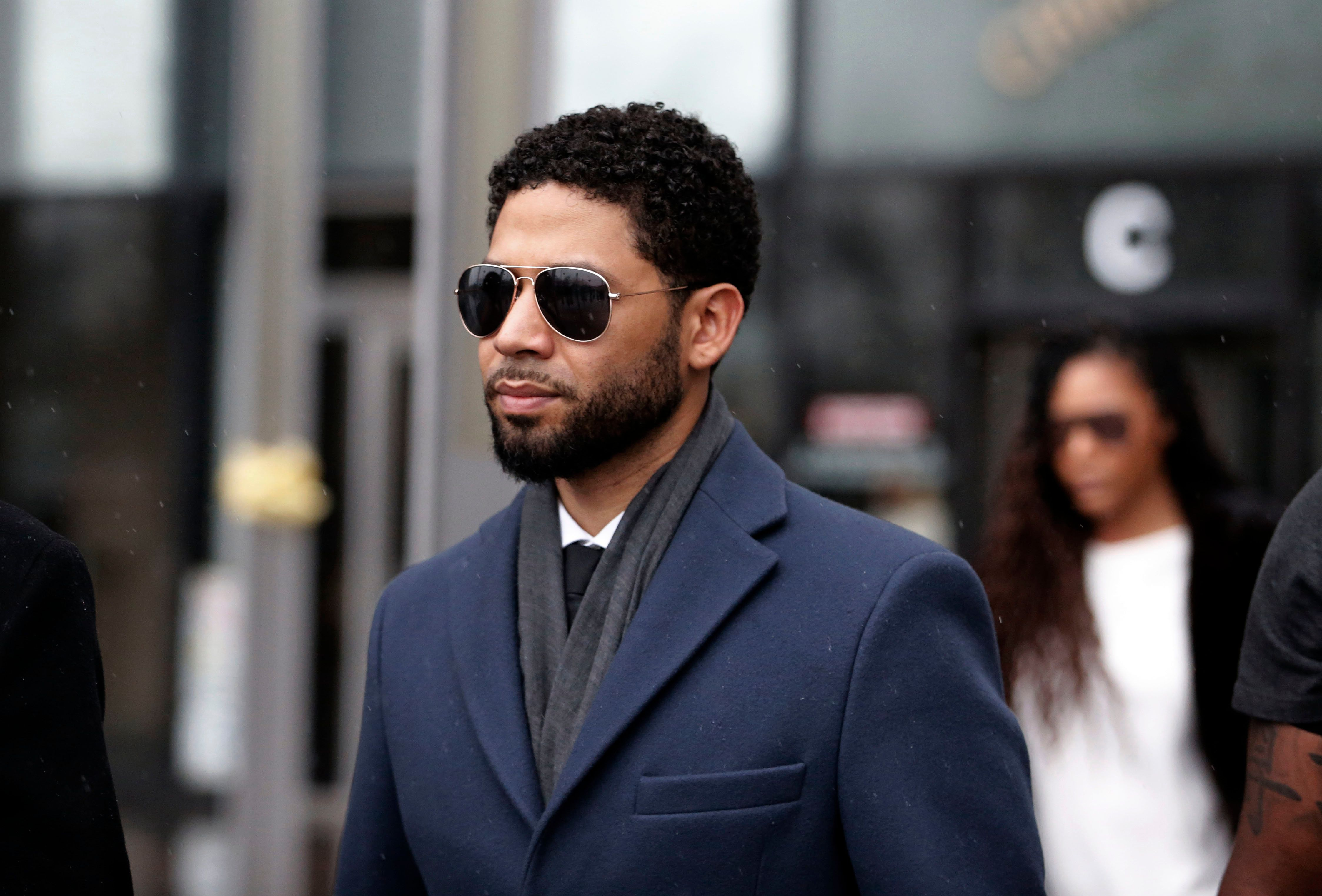 CHICAGO, IL - MARCH 14: Actor Jussie Smollett leaves Leighton Criminal Courthouse after his court appearance on March 14, 2019 in Chicago, Illinois. Smollett stands accused of arranging a homophobic, racist attack against himself in an attempt to raise his profile because he was dissatisfied with his salary on the Fox television drama 'Empire.'  (Photo by Nuccio DiNuzzo/Getty Images)