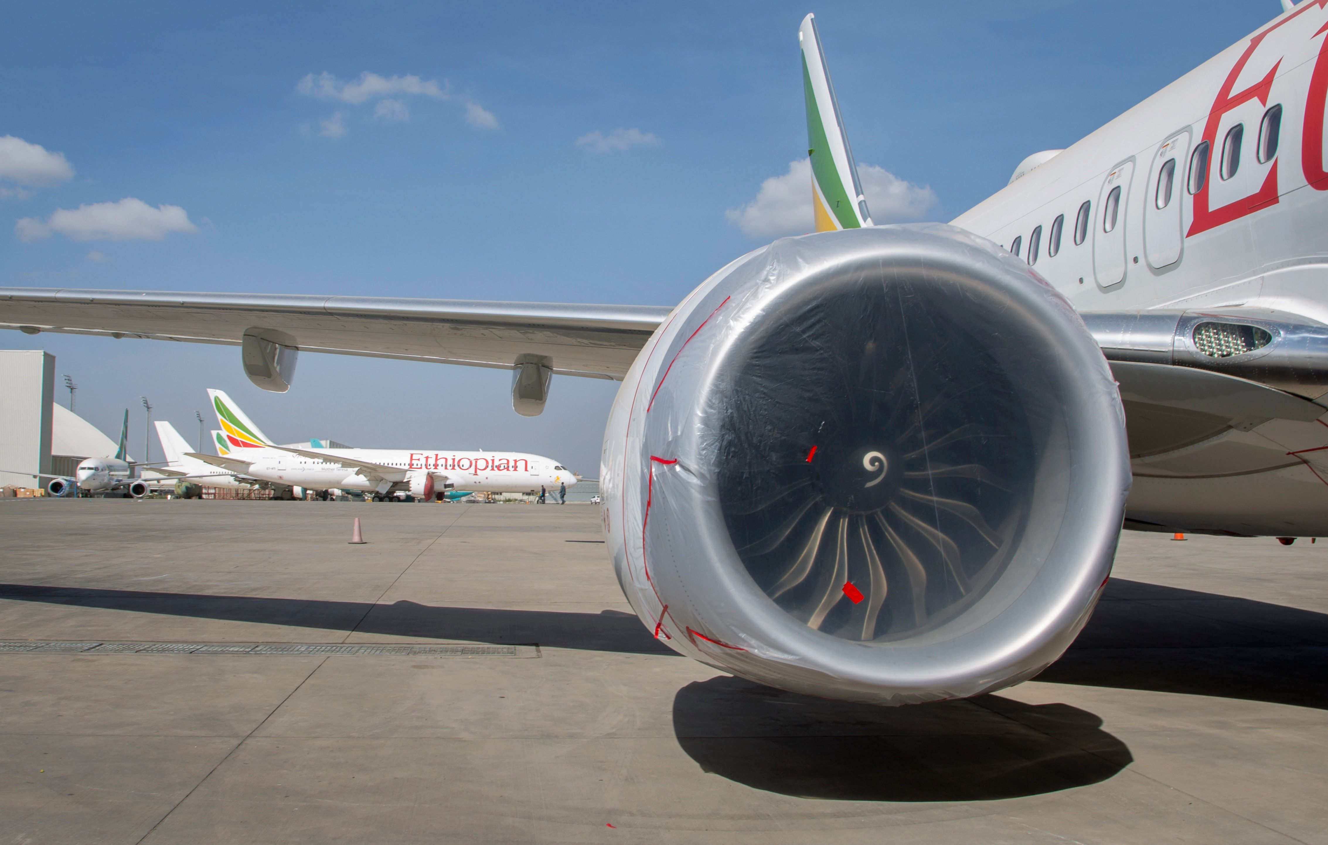 An Ethiopian Airlines Boeing 737 Max 8 is seen grounded at Bole International Airport in Addis Ababa,...