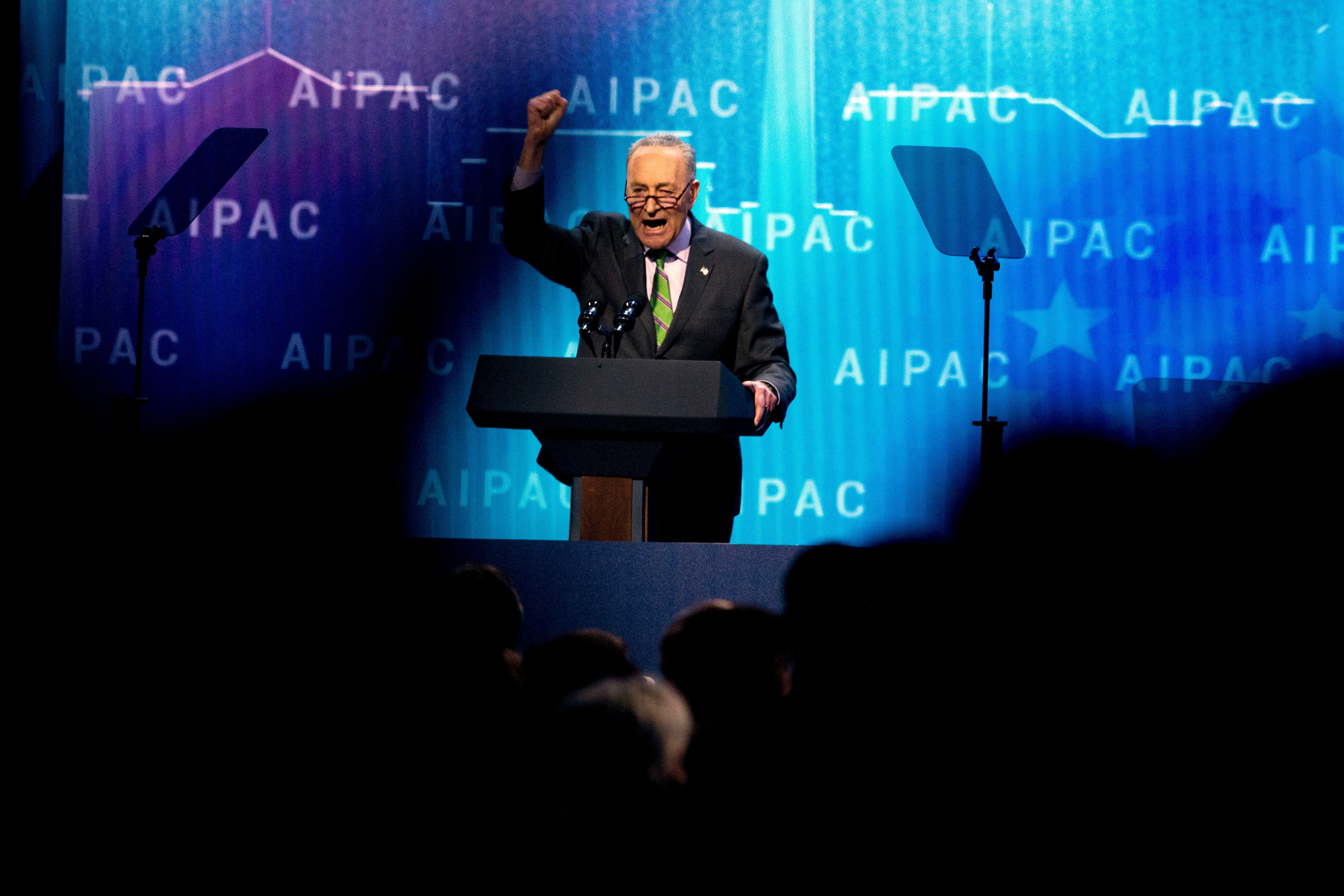 Senate Minority Leader Chuck Schumer, D-N.Y., speaks at the 2018 American Israel Public Affairs Committee (AIPAC) policy conference, at Washington Convention Center, Monday, March 5, 2018, in Washington. (AP Photo/Jose Luis Magana)