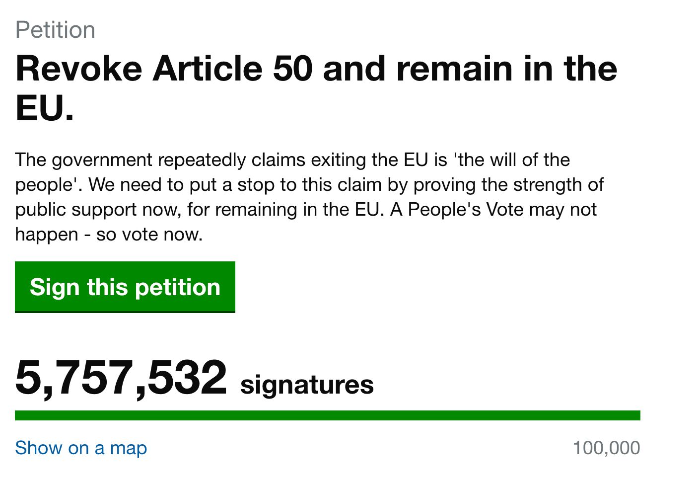 Brexit: Petition to revoke Article 50 passes 3m signatures