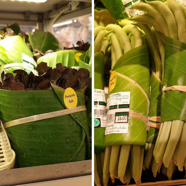 Supermercado tailandês troca embalagem plástica por folha de