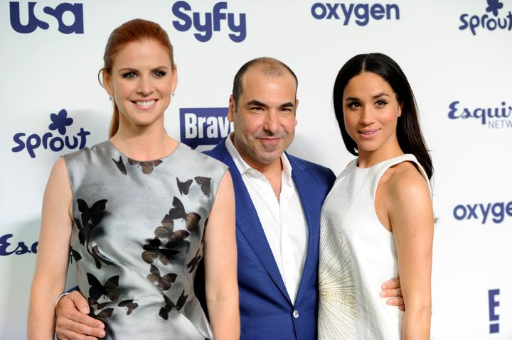 "The former actress with fellow ""Suits"" cast members Sarah Rafferty and Rick Hoffman at the NBCUniversal Cable Entertainment 2"