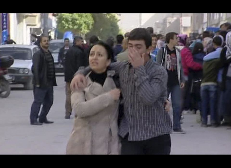 Residents take to the streets after a earthquake in Van eastern Turkey in this image taken from Sunday Oct. 23, 2011. Only on