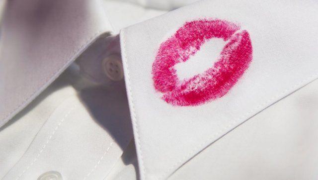 red lipstick on shirt collar