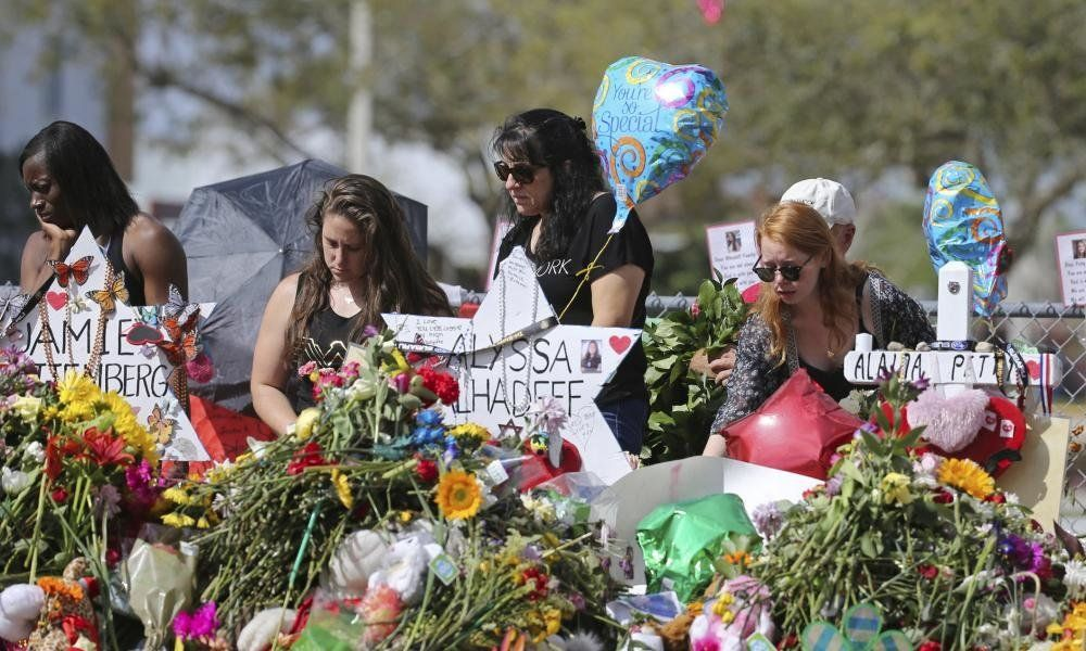 A makeshift memorial for victims of the shooting at Marjory Stoneman Douglas High School in Parkland, Florida, in February 20