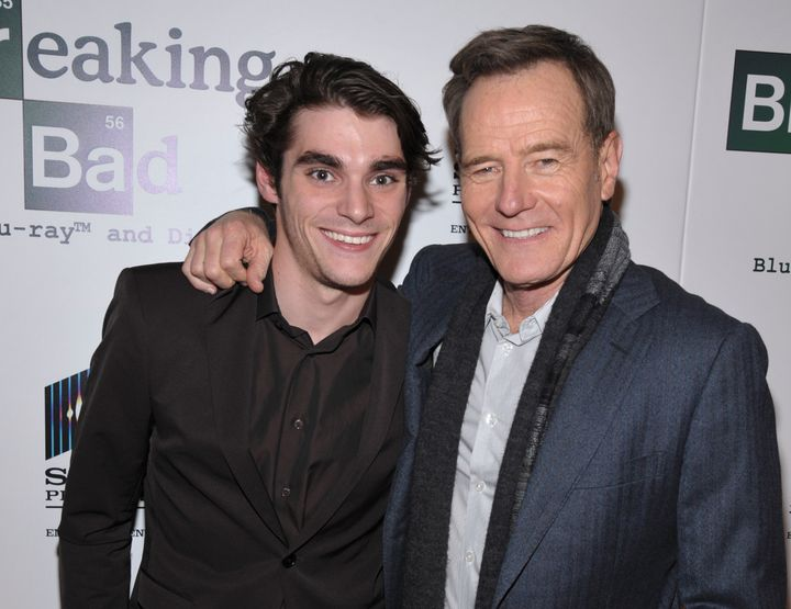 "On ""Breaking Bad,"" the main character played by Bryan Cranston (right) has a son with cerebral palsy who is played by RJ Mitt"