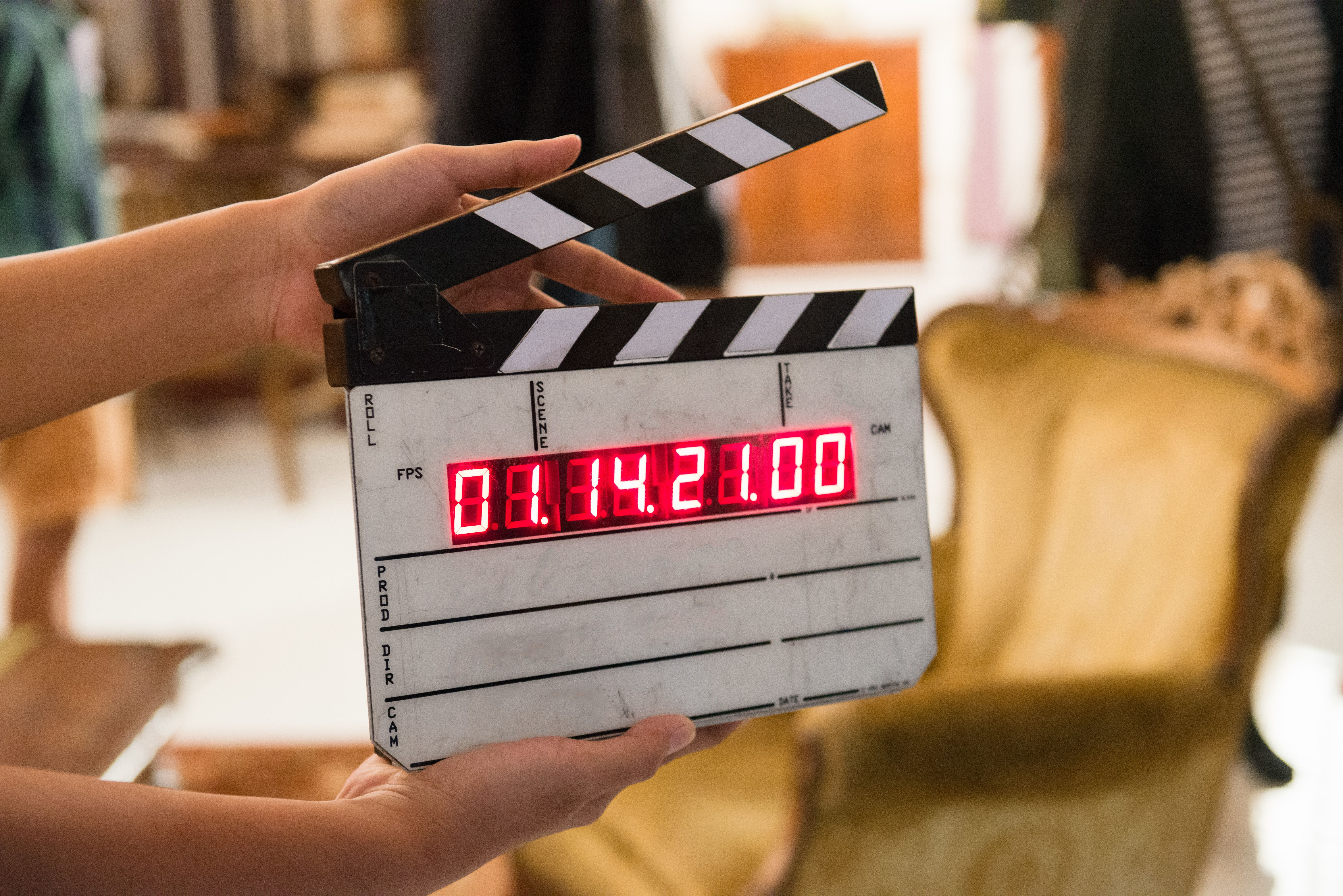 Movie production digital clapper board