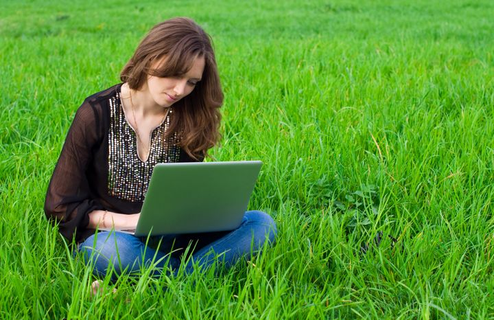 the girl with laptop