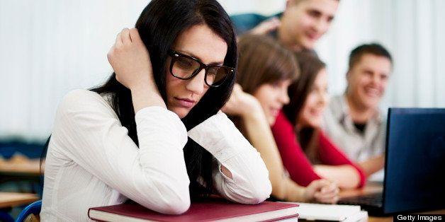 Sad, lonely nerd student