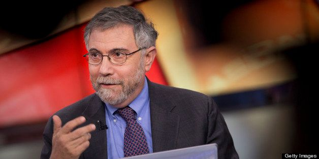 Nobel Prize-winning Economist Paul Krugman, professor of international trade and economics at Princeton University, speaks du
