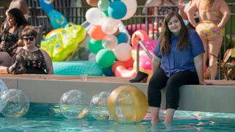 SHRILL - Episode 4 - Annie & Fran attend the Fat Babe Pool Party. Annie is so empowered by the experience and so furious with her boss, Gabe, that she posts a body positive article to the paper's website that explains exactly what it's like to be a fat woman in today's world. Annie (Aidy Bryant) shown. (Photo by: Allyson Riggs)