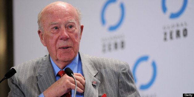 PARIS - FEBRUARY 02:  George Shultz delivers a speech at the International 'Global Zero' Summit Against Nuclear Weapons at Ho