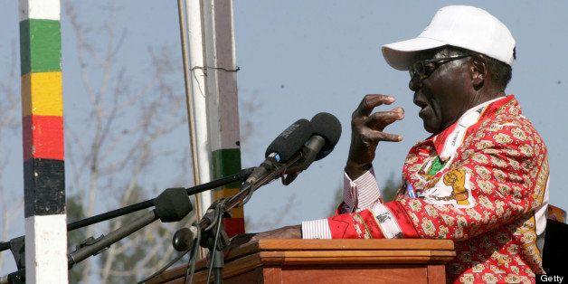 Zimbabwe President and Zanu PF presidential candidate Robert Mugabe speaks at a election campaign rally...