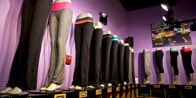 Groove pants sit on display at the Union Square Lululemon retail store in New York, U.S., on Wednesday, Sept. 15, 2010. Lulul