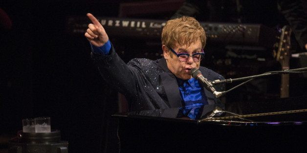 LOS ANGELES, CA - SEPTEMBER 16:  Musician Elton John performs songs from his new album The Diving Board with USC Thornton Sch
