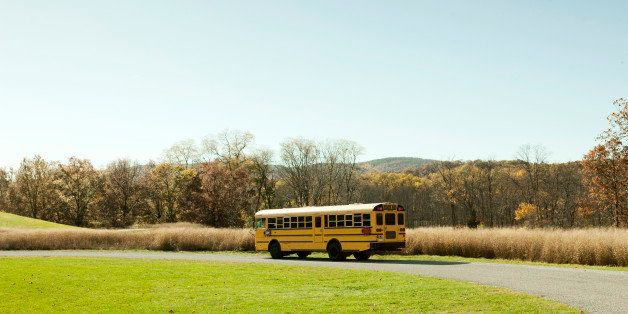 School bus parked in empty park