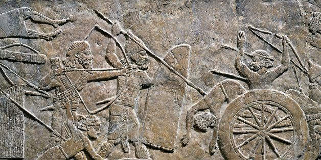UNSPECIFIED - CIRCA 1996:  Persian civilization, 7th century b.C. Relief with battle of Til-Tuba, 645-640 b.C. From Nineveh.