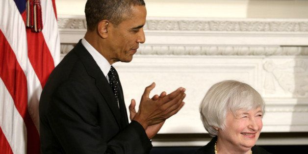 WASHINGTON, DC - OCTOBER 09:  U.S. President Barack Obama claps as Janet Yellen smiles during a press conference to nominate
