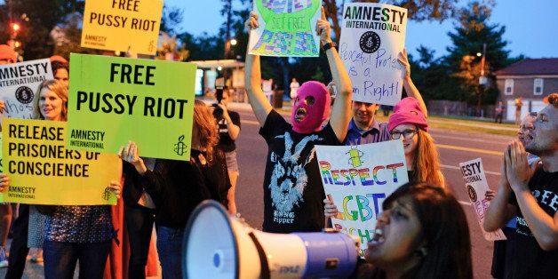 WASHINGTON, DC - AUGUST 16: Supporters of Pussy Riot gather to demand the release of members of the punk band outside of the