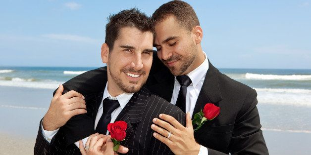 two gay men after wedding on a...