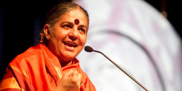PORTO ALEGRE , BRAZIL - MAY 28: The ambientalist and philosopher Vandana Shiva speaks during Fronteiras do Pensamento project