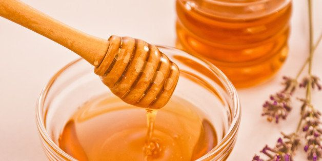 bowl of lavender honey