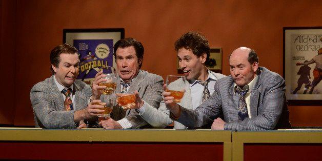 SATURDAY NIGHT LIVE -- Episode 1649 -- Pictured: (l-r) Taran Killam, Will Farrell, Paul Rudd, David Koechner -- (Photo by: Da