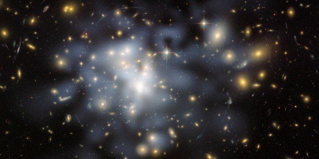 This NASA Hubble Space Telescope image shows the distribution of dark matter in the center of the giant galaxy cluster Abell