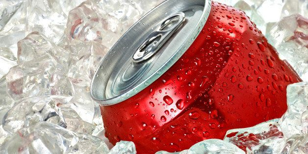 soda can in crushed ice