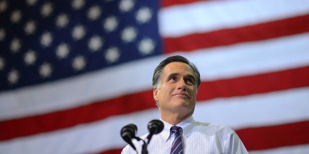 US Republican presidential candidate Mitt Romney holds a rally at George Mason University in Fairfax, Virginia, on November 5