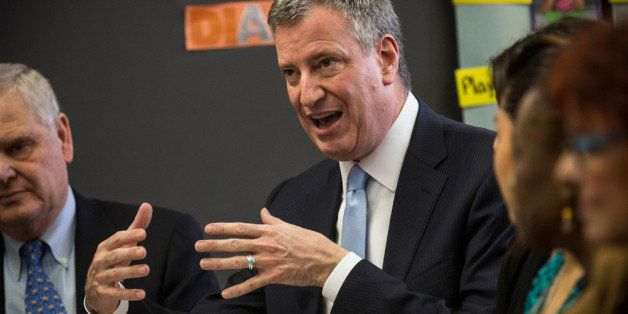 NEW YORK, NY - FEBRUARY 04:  New York City Mayor Bill DeBlasio attend a roundtable discussion held by Univision between paren