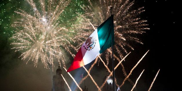 MEXICO CITY, MEXICO  SEPTEMBER 16:  Fireworks explode at the Mexico City Zocalo during the anniversary of the 'Grito de Dolor