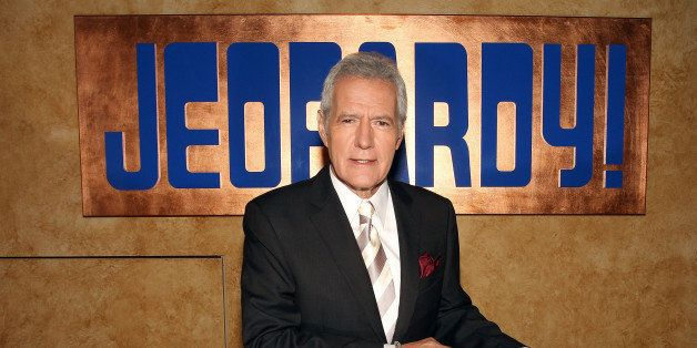CULVER CITY, CA - SEPTEMBER 20: Host Alex Trebek poses on the set at Sony Pictures for the 28th Season Premiere of the televi