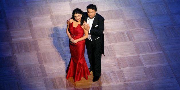 VIENNA, AUSTRIA - FEBRUARY 19:  Mexican tenor Ramon Vargas (R) and Georgian soprano Tamar Iveri  perform during the annual Vi