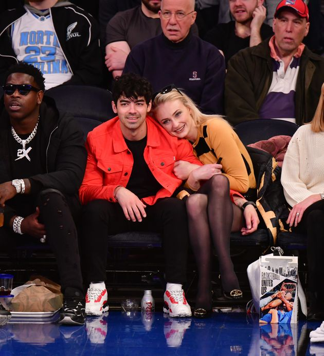 Joe Jonas and Sophie Turner at a game between the Sacramento Kings and New York Knicks at Madison Square...