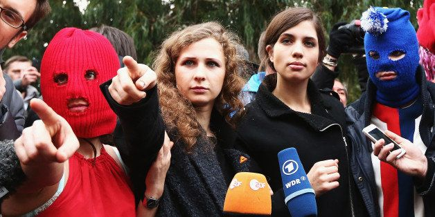 SOCHI, RUSSIA - FEBRUARY 20:  Members of protest group Pussy Riot speak during a press conference on February 20, 2014 in Soc