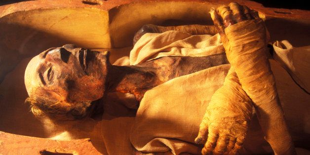 CAIRO, EGYPT - APRIL 2006:  The mummy of Ramses II (1301-1235 BC), son of Sethy I, in April 2006, at Cairo Museum, Egypt. The
