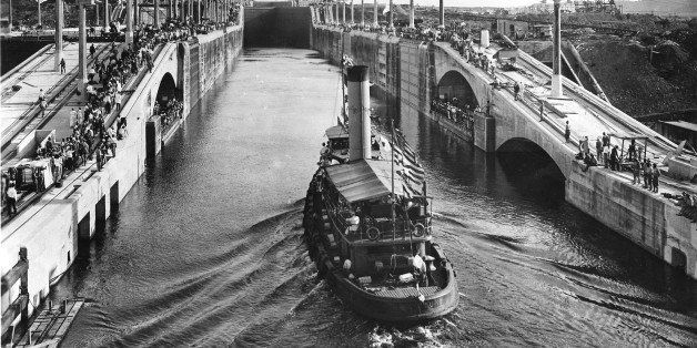 View of the first boat through the Gatun Locks, Panama, September 26, 1913. (Photo by PhotoQuest/Getty Images)