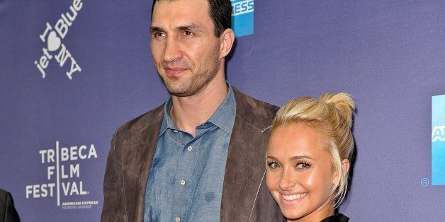 NEW YORK, NY - APRIL 24:  Actress Hayden Panettiere (R) and professional boxer Wladimir Klitschko attend the premiere of 'Kli