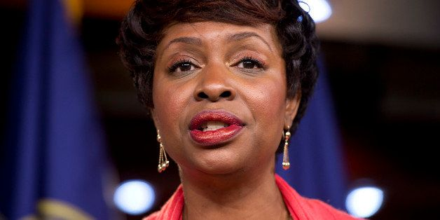 UNITED STATES - AUGUST 01:  Rep. Yvette Clarke, D-N.Y., speaks during a Congressional Progressive Caucus news conference in t