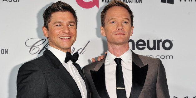 Neil Patrick Harris, right, and David Burtka arrive at 2014 Elton John Oscar Viewing and After Party Mar. 2, 2014 in West Hol