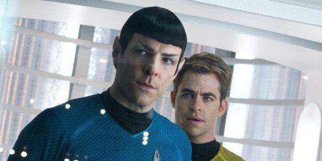 This undated publicity film image released by Paramount Pictures shows, Zachary Quinto, left, as Spock and Chris Pine as Kirk