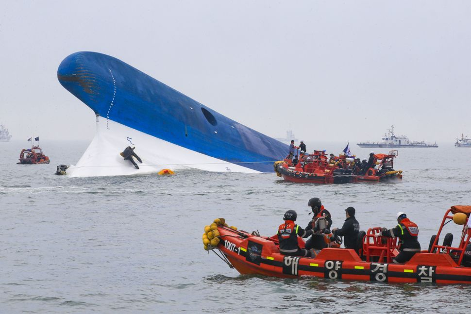 "On April 16, the Sewol ferry <a href=""http://www.bbc.com/news/world-asia-27056653"" target=""_blank"">sinks</a> on its way to So"