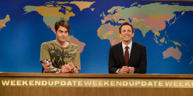 SATURDAY NIGHT LIVE -- 'Bruno Mars' Episode 1625 -- Pictured: (l-r) Bill Hader, Seth Meyers -- (Photo by: Dana Edelson/NBC/NB