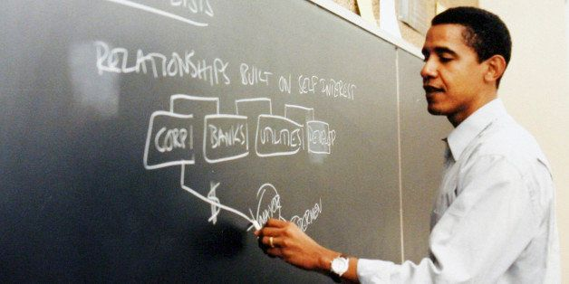 ** ADVANCE FOR WEEKEND OF OCT. 20-21 AND THEREAFTER ** This photo released by Obama for America shows a Barack Obama teaching