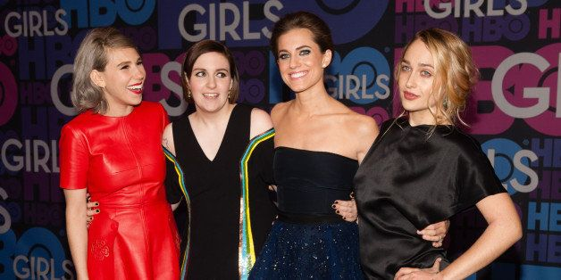 NEW YORK, NY - JANUARY 05:  (L-R) Zosia Mamet, Lena Dunham, Allison Williams, and Jemima Kirke attend the 'Girls' Season Four Premiere at the American Museum of Natural History on January 5, 2015 in New York City.  (Photo by D Dipasupil/FilmMagic)